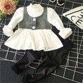 Весна осень дети девочки комплект одежды поддельные 2 шт. блузка и черные брюки костюм девочка повседневная одежда мода одежда