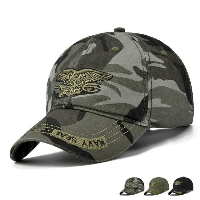 Fashion Summer Men's Navy Seal Adjustable Camouflage Cotton Canvas Baseball  Cap Sun Hat Outdoors Casual Snapback