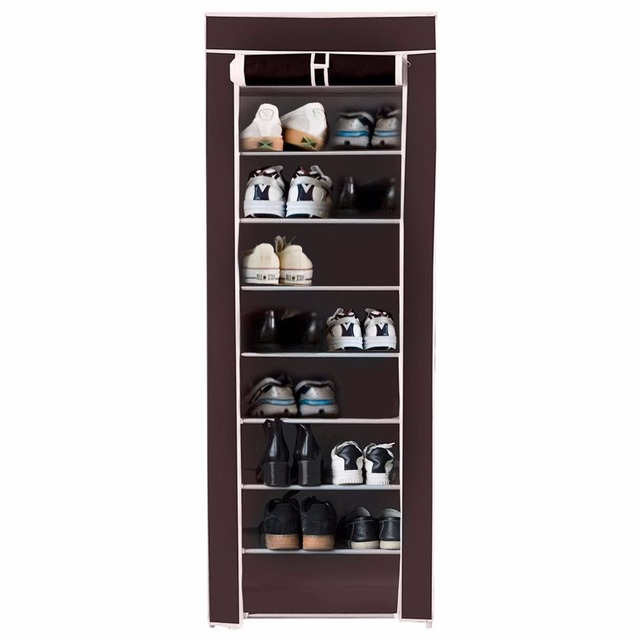 Giantex 10 Tier Shoe Tower Rack With Fabric Cover 18 Pair Home Space Saving  Organizer Portable