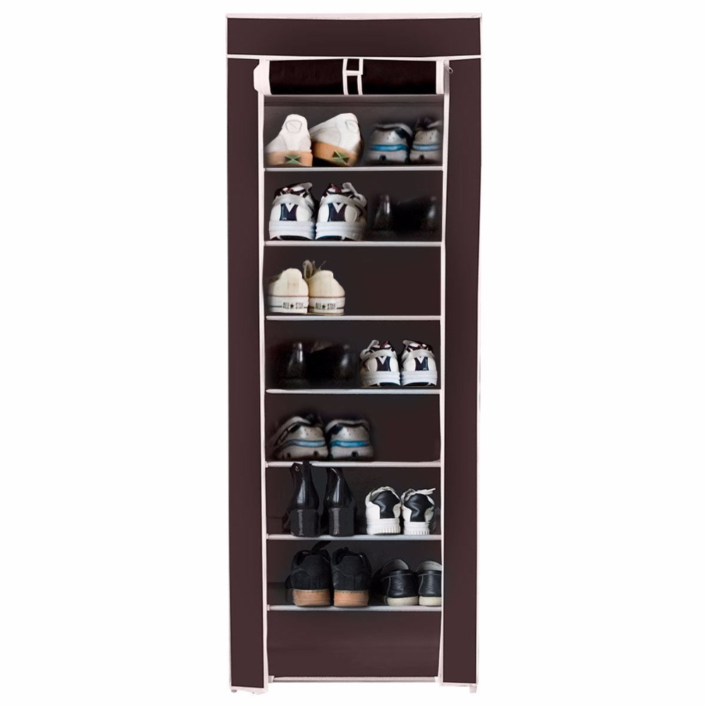 Giantex 10 Tier Shoe Tower Rack With Fabric Cover 18 Pair Home Space Saving Organizer Portable Shoes Shelf Cabinet HW57331