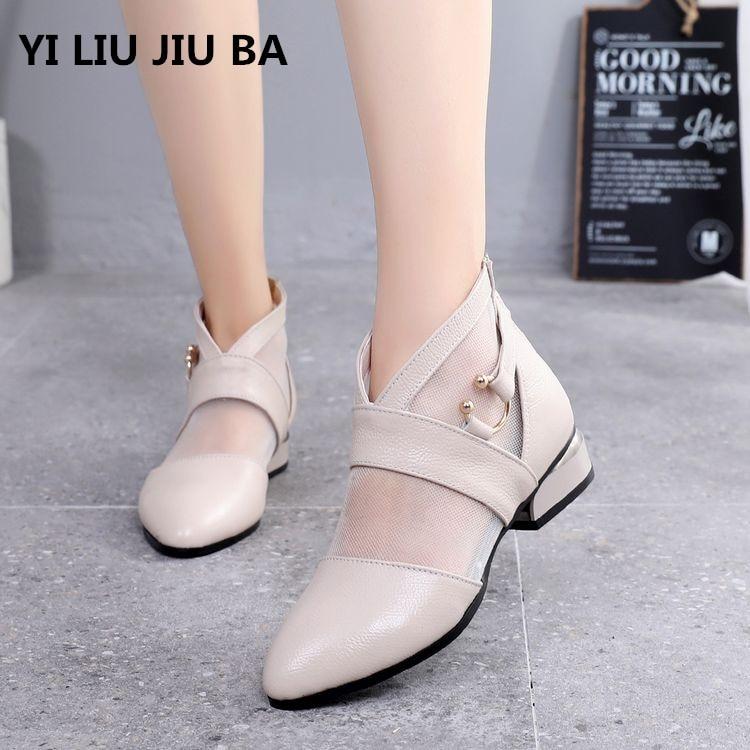 Hot Sale 2019 Spring Summer New Fashion Women Shoes Zipper Low Heel Breathable Non-slip Shoes Women Sandals Plus Size35-40 **677