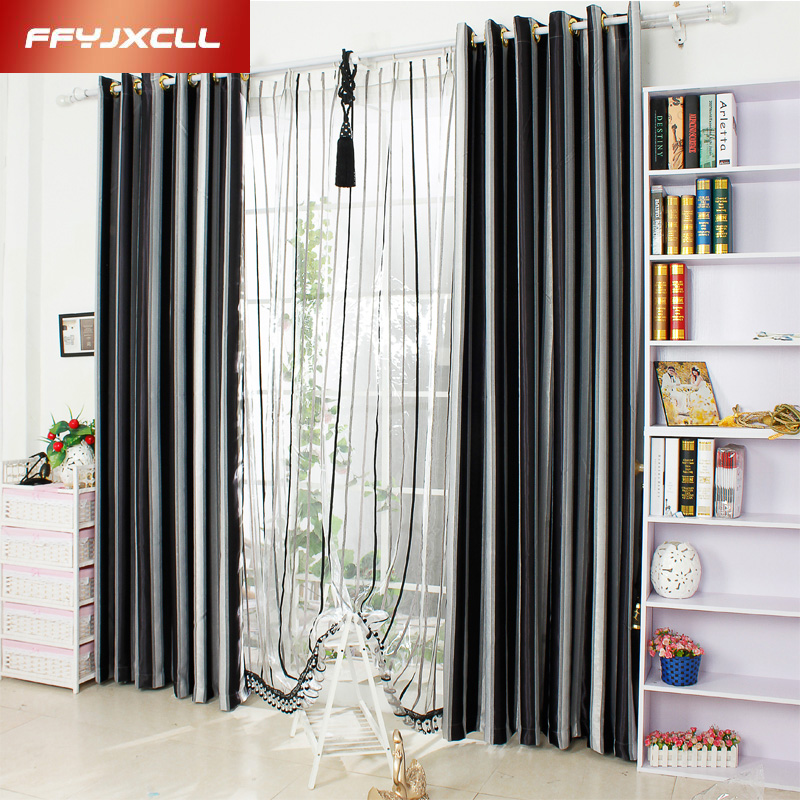 Shading Rate 41%-85% New Home Decor Window Modern Yarn Dyed Black White striped Blackout Curtains Woven Tulle Curtains