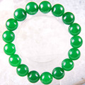 "Stretch 12mm Round Beads Natural Stone Green Jade Bracelet 8"" 1Pcs LH1815"