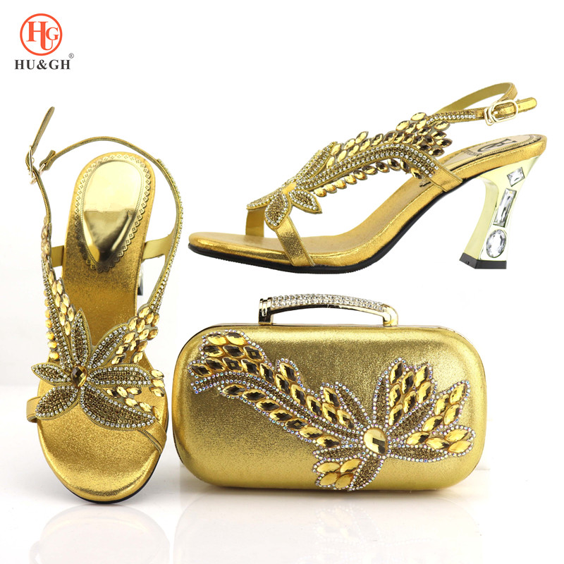 Latest Gold Color Woman Italian Shoes And Bags Sets African Summer Shoes Nigerian Party Shoes And Purse Set Wedding Dress Shoes