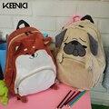 KEENICI Novo Gato Bonito E Cão Casual Hobo Bags Animal Dos Desenhos Animados bolsa de Ombro Estudantes Mochila Saco Grande Capacidade de Saco de Veludo