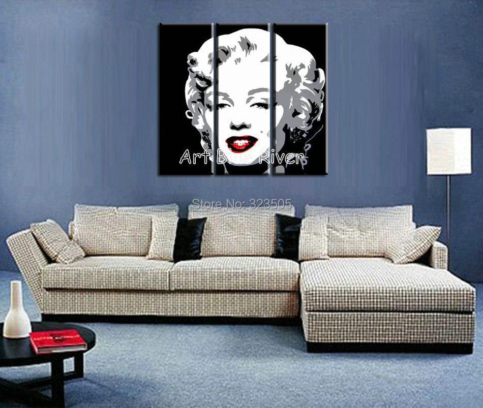 Nice 3 Piece Canvas Art Handmade Wall Abstract Pop Art Marilyn Monroe Bedroom  Sets Oil Painting Canvas For Living Room Decoration In Painting U0026  Calligraphy From ...