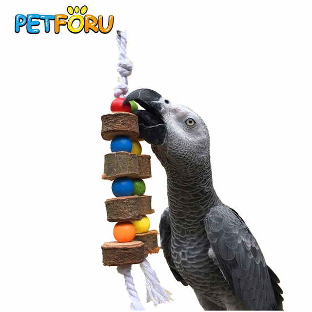 1/2pc PETFORU Solid Wood Bird Parrot Chew Toy Parakeet Wooden Ball String Cage Toy Decoration Bird Toys Pet Supplie-Color Random