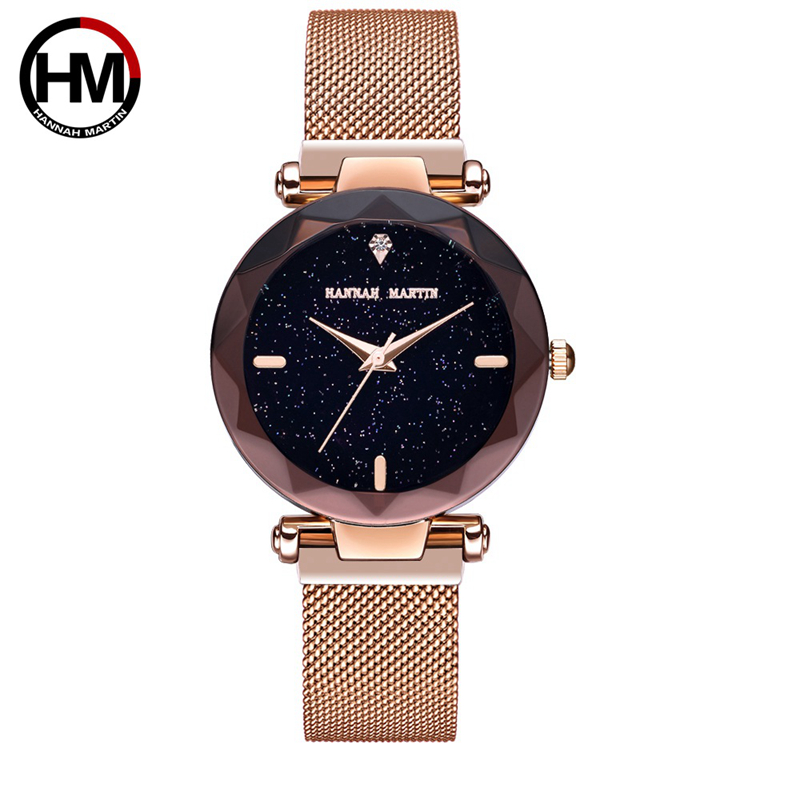 Hannah Martin Dress Women Watches Rose Gold Water Resistant Wrist Watches For Women Luxury Bracelet Zegarek Damski Steel Clock