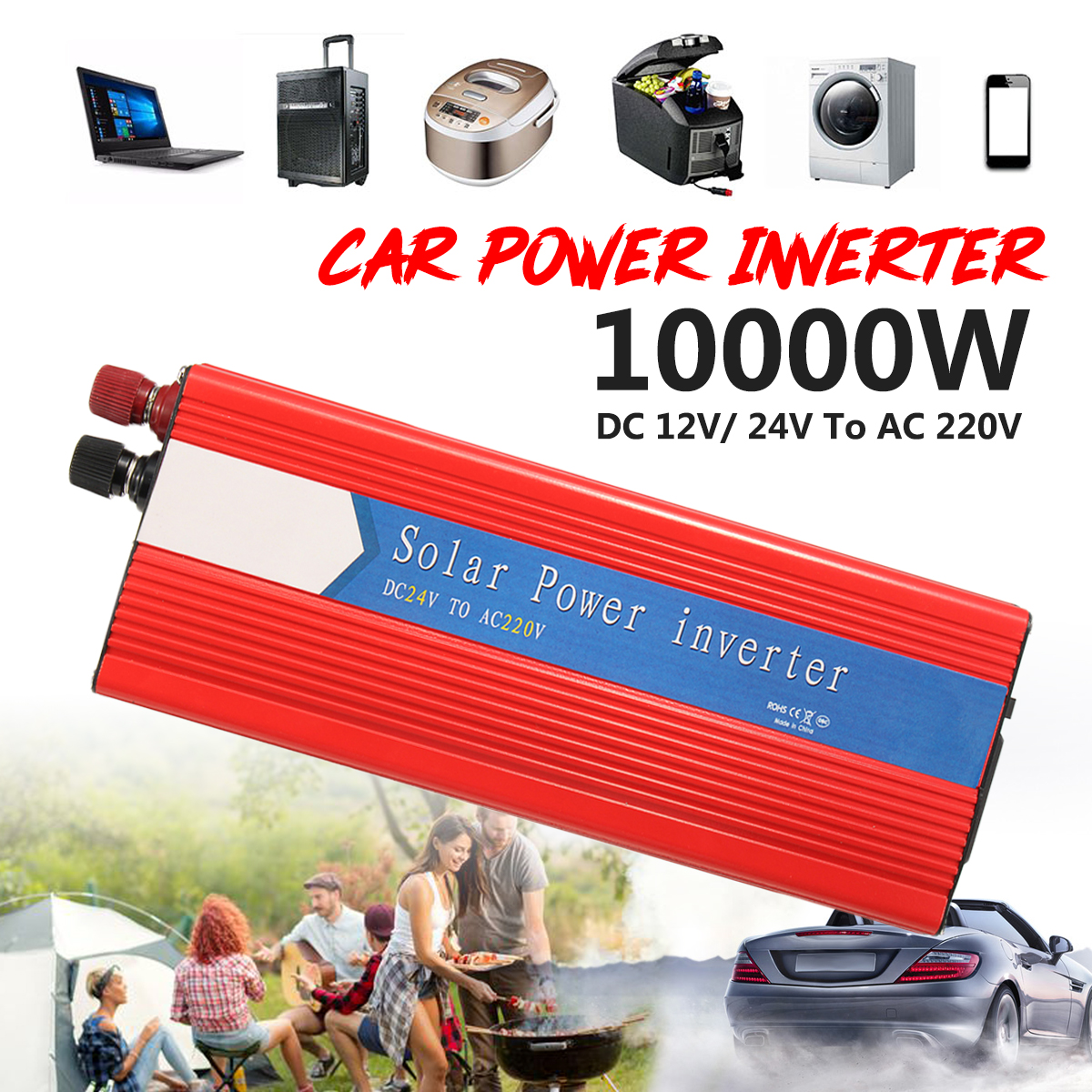 PEAK 10000W 12/24V To AC 220/110V Voltage Transformer Car Power Inverter Converter USB Modified Sine Wave Universal Intelligent 12 24v to ac 220 110v car power inverter converter peak 10000w usb modified sine wave voltage transformer universal intelligent