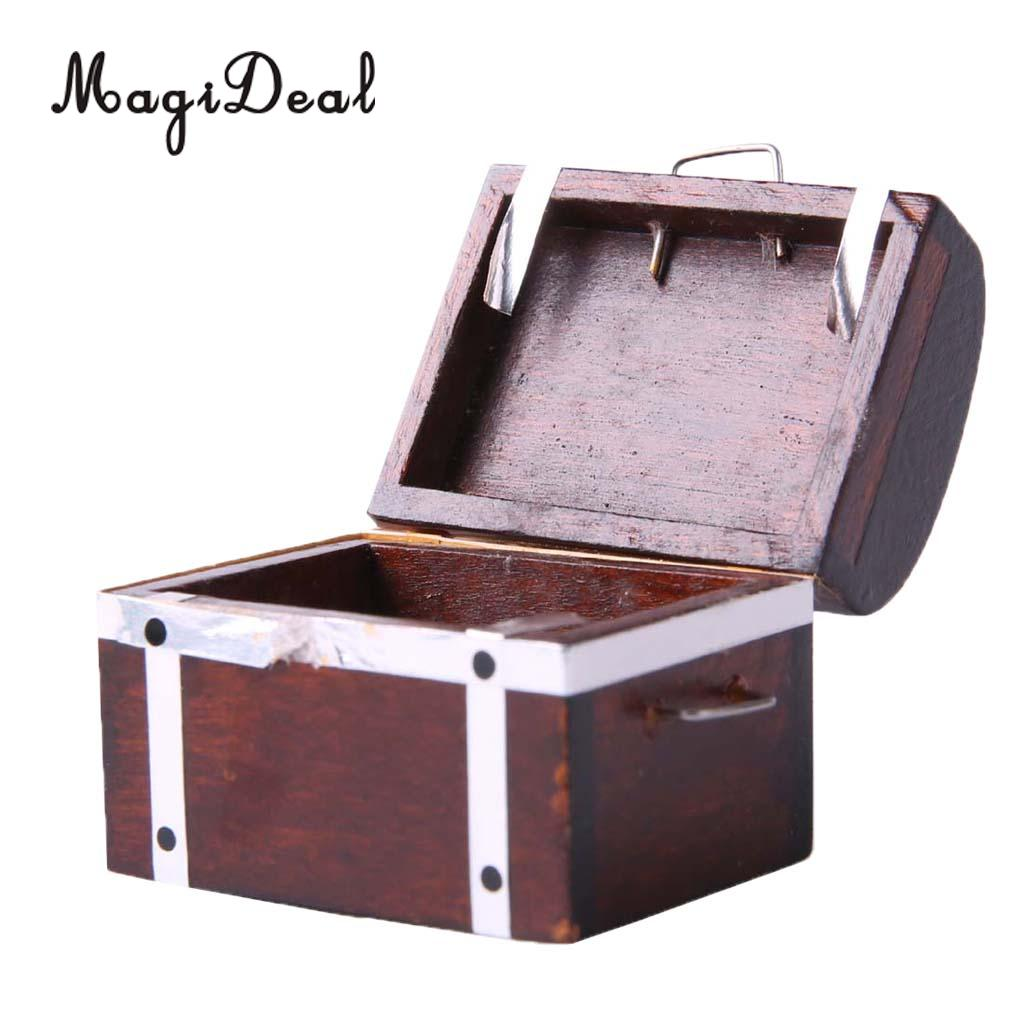 1/12 Scale Retro Wooden Treasure Chest Box Wood Case Miniature Dollhouse Furniture Decoration Accessory Model Toy