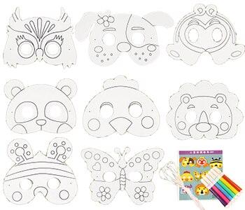 16 Adet Parti Maskesi Ile Yaratıcı Karikatür Diy Boş Boyama Beyaz
