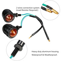 2 Pcs Universal 12V Motorcycle Vintage Turn Signal Light Amber Color Waterproof Indicators Turn Lamp