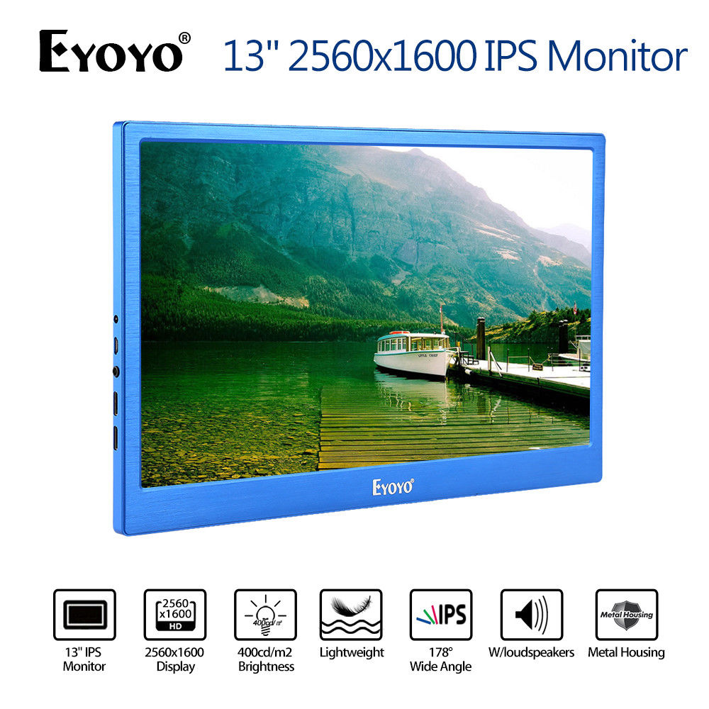 цена на EYOYO 13 2K HD 1080P 2560*1600 Display IPS Gaming Monitor Dual Input Built-in Speakers USB For PC DVD PS3 PS4 Xbox One Xbox360