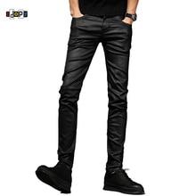 Idopy мужские джинсы с покрытием Вощеные черные мотоциклетные джинсы в стиле панк облегающие байкерские джинсовые штаны для мужчин