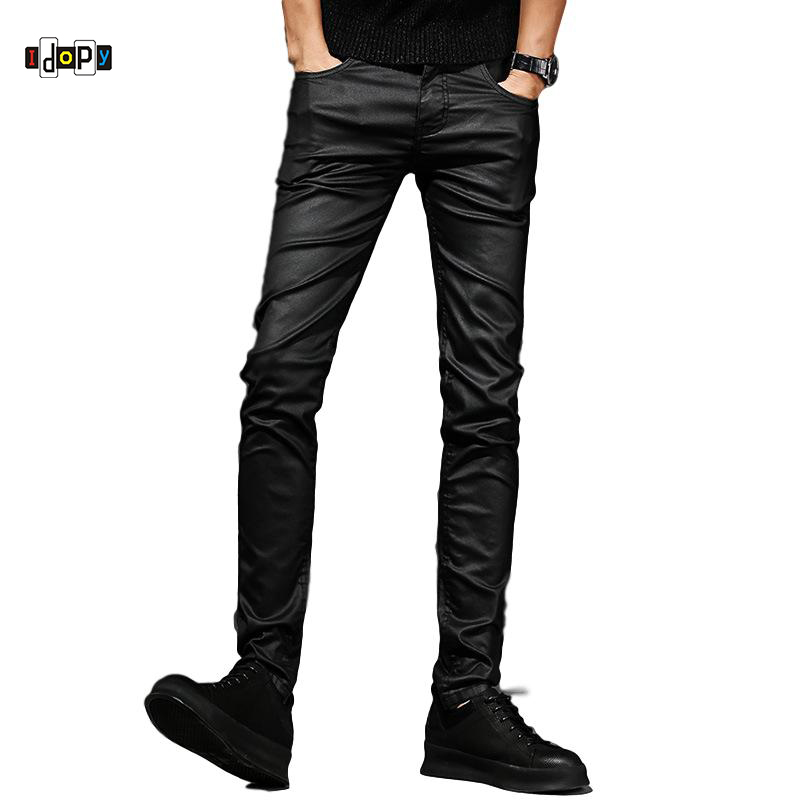 Idopy Men's Coated Jeans Waxed Black Punk Style Motorcycle Jeans Slim Fit Biker Denim Pants For Male
