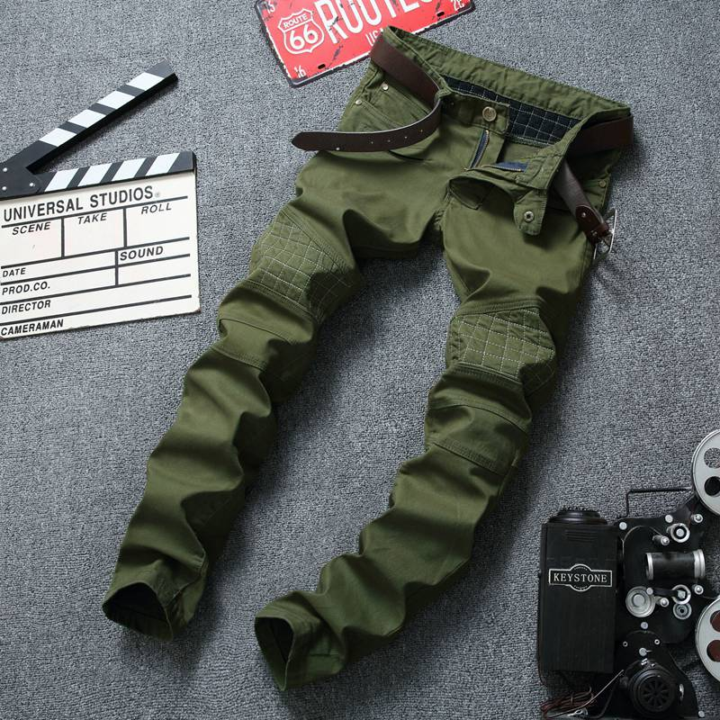 ФОТО European American Style Men Jeans Army Green Camouflage Denim Trousers Luxury Brand Slim Straight Military Jeans For Men