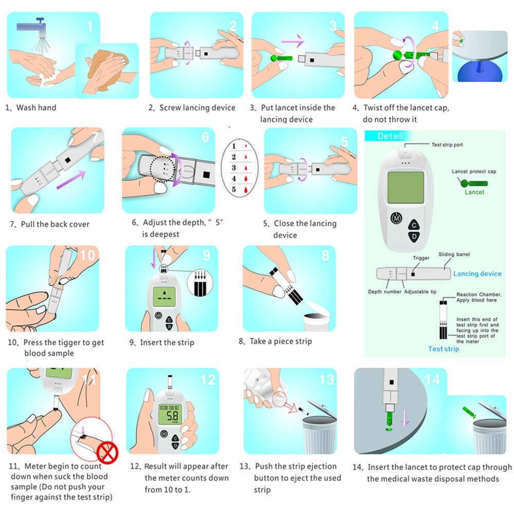 Sinocare 25 tiras separadas do teste de glicose no sangue e lancetas (apenas para o seguro-accu)