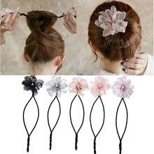 Woman Flower Donuts Twist Headband Magic Hair Bun Maker DIY Hairstyle Tool Pearl French Bud Dish Hair Accessories Sweet Hairband