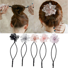 Woman Flower Donuts Twist Headband Magic Hair Bun Maker DIY Hairstyle Tool Pearl French Bud Dish Hair Accessories Sweet Hairband(China)