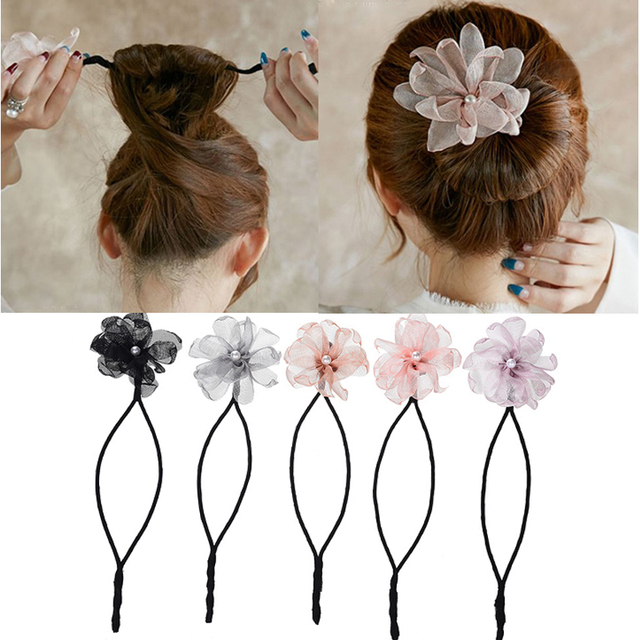 3977e3fca Woman Flower Donuts Twist Headband Magic Hair Bun Maker DIY Hairstyle Tool  Pearl French Bud Dish