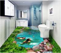 WDBH Custom photo 3d PVC flooring Self adhesive picture Green grass cobblestone pool goldfish room 3d wall murals wallpaper