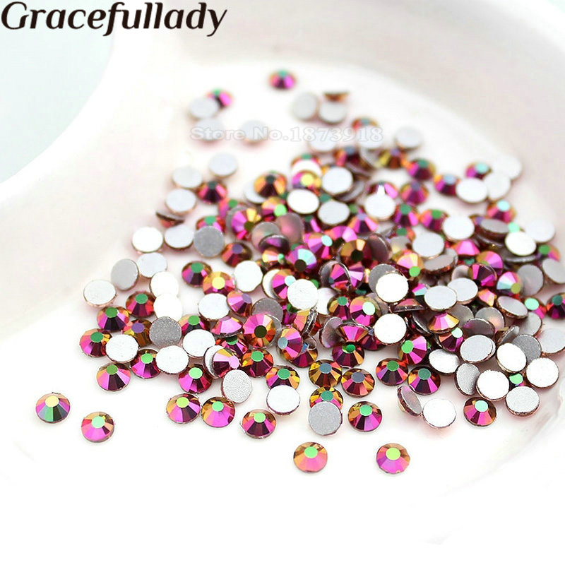 SS3 SS4 SS6 SS8 SS16 Rainbow AB Color No Hotfix Rhinestones Flatback Glass Strass 3D Nails Decoraciones para Nail Art Designs