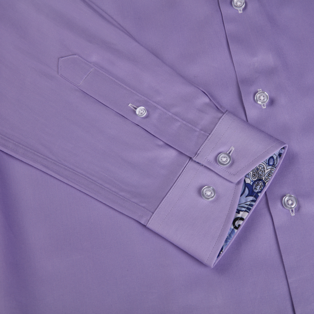 New Arrival Men's Cotton Dress Shirts Bright Purple Color Long Sleeve Small Collar With Print Contrast Slim Fitting Euro.Design