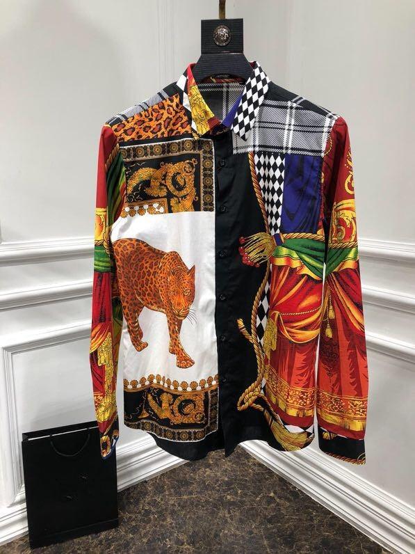 WRD08403BH последние Для мужчин рубашки 2018 роскошные дизайнерские бренды фантазии Европе Стиль Для мужчин модные