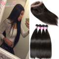 Malaysian Straight Virgin Hair With 360 Frontal 4 Bundles With Frontal Closure 360 Lace Frontal Closure With Bundles