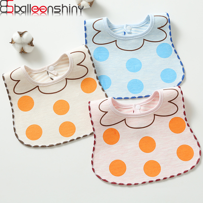 BalleenShiny Newborn Baby Cotton Bibs Cute Waterproof Printing Saliva Towels Boys&Girls Dot Bandanas Burp Cloths Baby Care