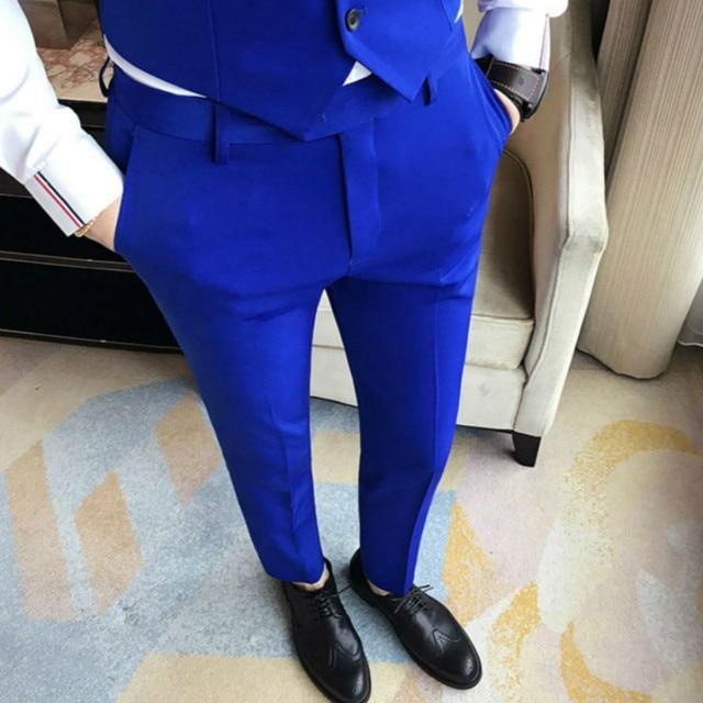 Роскошный 4 цвета королевский синий платье костюм брюки мужские классические винтажные бизнес Штаны костюмы мужчин королевский синий красный стройная фигура мужские панталоны
