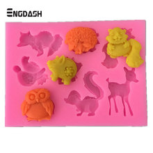 ENGDASH 1pc Forest Animal Mould Silicone Molds Woodland Cake Decorative Mold Tools Decorating Fondant Pastry Tool