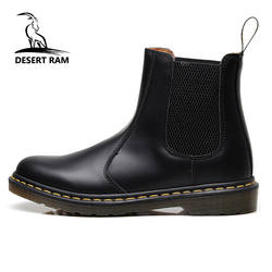 DESERT RAM Brand Men's Boots Big Size 35~45 Leather Winter Warm Doc Martens Shoes Motorcycle Mens Ankle Boot Unisex Chelsea Boot