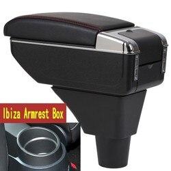 Dla Seat ibiza podłokietnik ze schowkiem centralny pojemnik do przechowywania box podłokietnik fotela podłokietnik ze schowkiem z uchwytem na kubek popielniczka interfejs USB