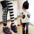 2017 Niñas 2 Unids Conjuntos Panda Manga Murciélago Tops y Leggings niños set Conjuntos 2-7Y niña bebé Que Arropan algodón de la raya pantalones