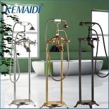KEMAIDI Neu 3 Typ Zwei Griff Bad Bodenständer Montiert Badewanne Wasserhahn Freistehende Bad Brausebatterie Wasserhahn Set