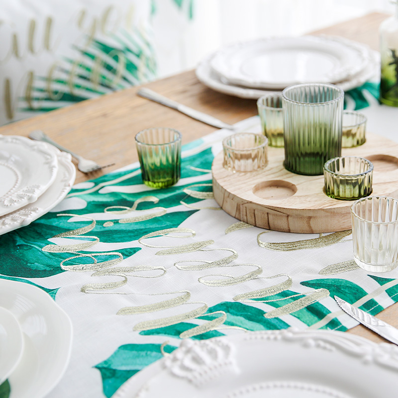Miz Table Runner For Wedding Leaves Print Green Flag 45 180 Rectangle Tropical Style Slabbed Fabric In Runners From Home