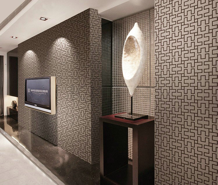 ФОТО Oriental Style Vintage Geometric PVC Embossed Textured Plaid Wallpaper Decor 10M