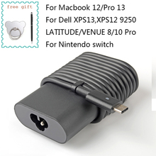 Laptop Charger for Macbook 12 Pro 13 Type-C Notebook Power Adapter 45W for DELL XPS 13/12 LATITUDE 7370/7275 VENUE 8/10 Pro