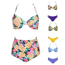 Womens Sexy Two Piece Bikini Set Spaghetti Straps Boho Floral Printed Push Up Underwire Bra High Waist Hollowed Criss Cross Thon fashionable spaghetti strap criss cross floral print women s bikini set