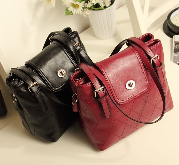 2014 spring vintage tote, diamond plaid Wine red bucket tote, women shoulder bag high quality, handbag fashion, small bag purse