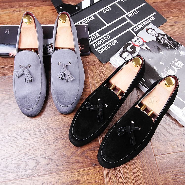 Tassel Fringe Gray Black Loafers Man Shoes Flats Spring Suede leather Handmade Slip on Cozy Driving Loafers Boat Shoes Hombre new suede leather women shoes loafers slip on sewing driving flats tassel woman breathable moccasins blue ladies boat flat shoes