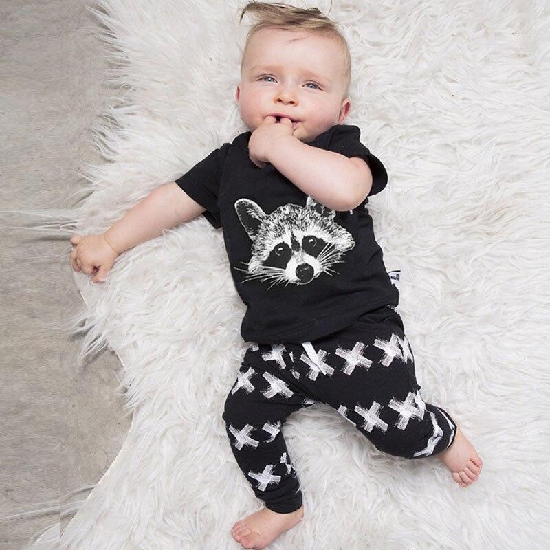 0-2 years old Summer short sleeves Baby boy set Cotton Black Squirrel Print Tops + XX Pants 2 Sets Babay clothing Babys Sets