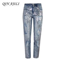 QIN AJILI Women 's Ankle-Length Pants Blue Cotton Denim Straight Jeans Zippers Mid Waist Pattern Embroidery Trousers for Ladies