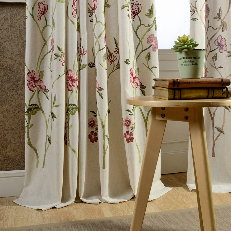 Curtains For Living Dining Room Bedroom Cotton Embroidery Curtain Fabric Living Room Bedroom Study Curtain