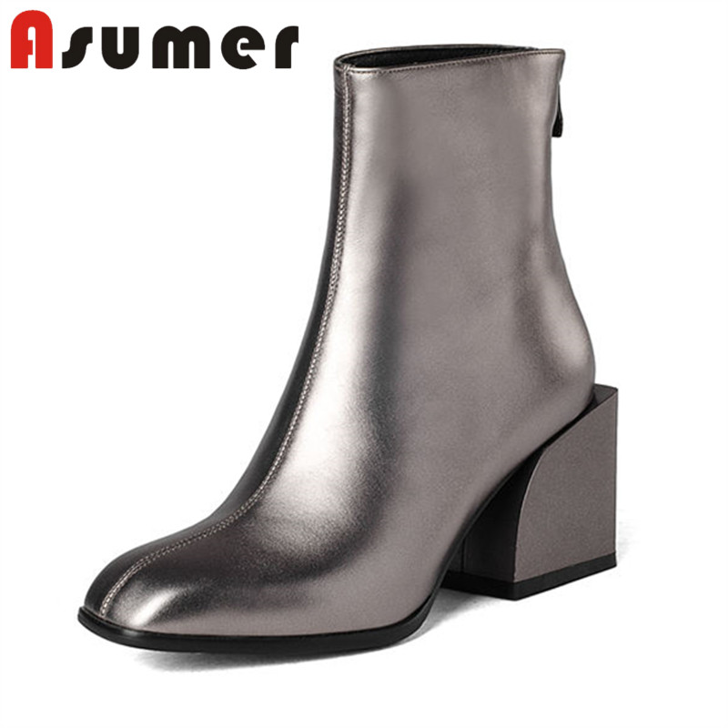 ASUMER 2018 NEW ARRIVE fashion square toe ankle boots for women solid unique high heels boots sewing adult genuine leather boots drop shipping 2015 fashion arrive sexy full grain leather lady high heels motorcycle boots for women genuine leather ankle boots