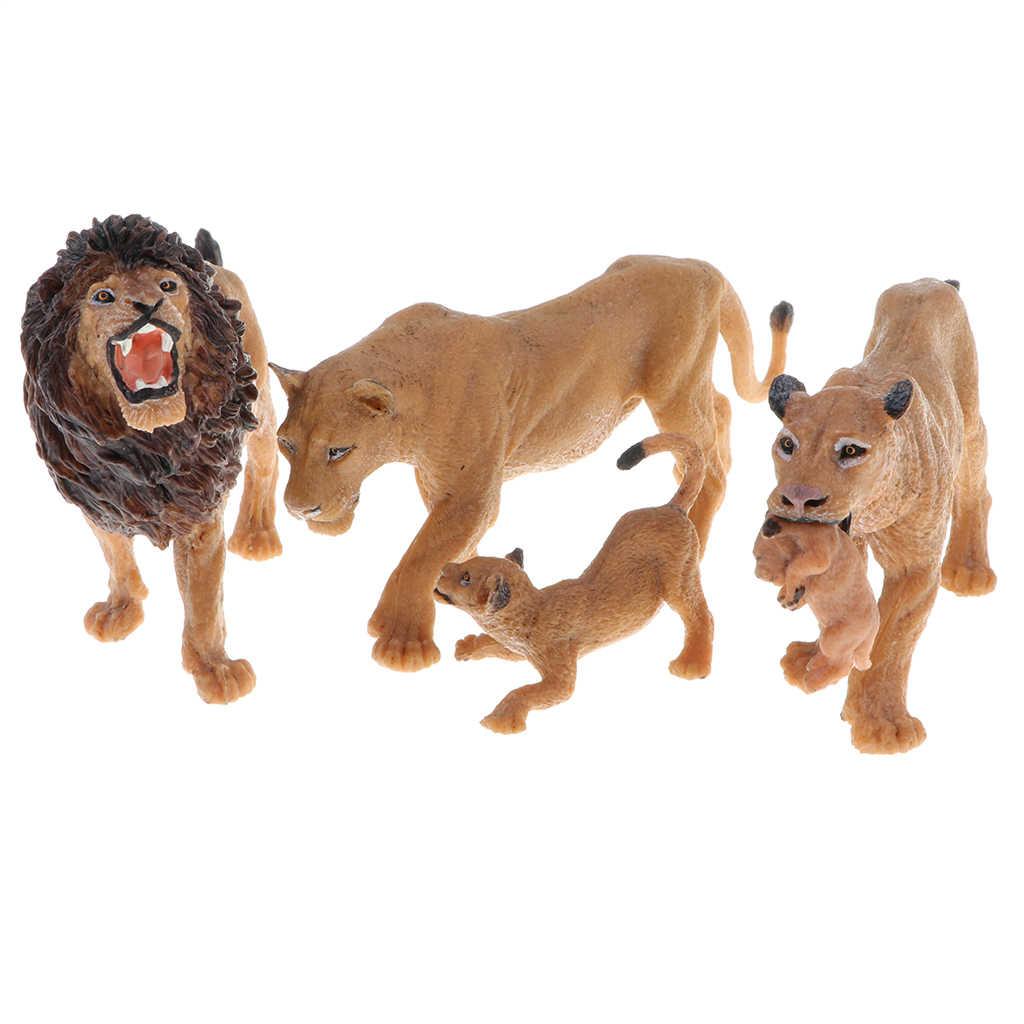 Leão realista Modelo Figura Toy Set, Crianças Brinquedo Aprendizagem Precoce Da Ciência Da Natureza Colecionável-Leão, Leoa e Lionet