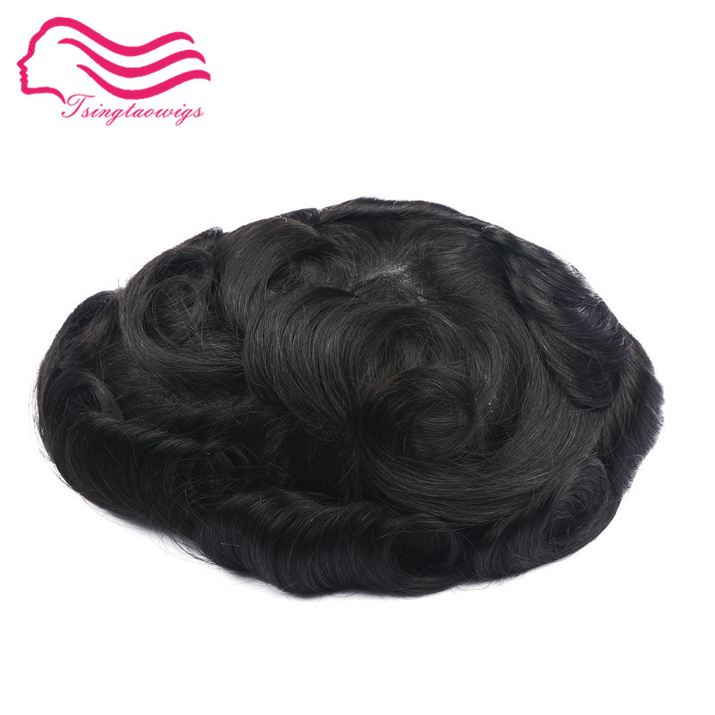 6 pc/lot peau mince hommes toupet taille 8x10 pouce, système de remplacement de cheveux, Cheveux Prothèse en stock livraison gratuite Par DHL