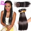 7A прямо Brazillian волосы с закрытием 4 шт. много необработанные человеческие волосы с закрытием девы волос шнурок с пучки