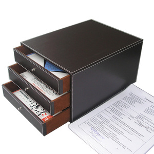 Image 2 - 3 Layers Office PU Leather Desk Filing Cabinet A4 Paper File Document Holder Wooden Desk Organizer Magazine Storage Box 3 Drawer